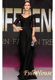 上品な披露宴ドレス・母親ドレス・正式な欧米風袖付けロングドレス、2013年新作ブラック個性的な派イブニングドレス30738