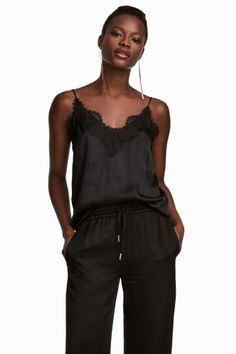 Strappy satin top with lace - Black - Ladies | H&M CA 1