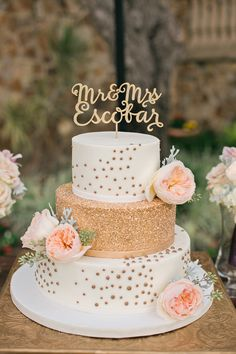 Romantic Peach & Gold Garden Wedding via TheELD.com | White and gold wedding cake by Party Flavors Custom Cakes.