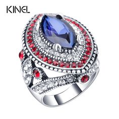 Aliexpress.com : Buy 2016 New Fashion Blue Big Rings For Women Color Silver Mosaic Red Crystal Vintage Wedding Ring Jewelry from Reliable wedding rings suppliers on kinel Retro Jewelry store