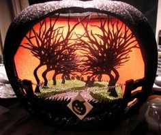 another papercut pumpkin created as a halloween version of a clients film production company logo - Halloween Diorama Ideas