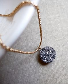 Druzy Necklace, Drusy Necklace, Platinum Silver, Metallic Druzy Necklace, 14k Gold Filled Chain Necklace by karinagracejewelry on Etsy https://www.etsy.com/listing/180092866/druzy-necklace-drusy-necklace-platinum