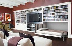 Entertainment center with hidden beds