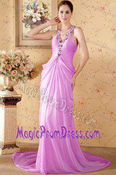 Pink Column Halter Top Chapel Train Prom Dress for Ladies in Chiffon