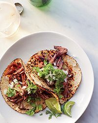 Barbacoa Beef Tacos with Two Sauces Recipe--probably could do in slow cooker