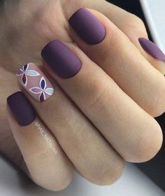 flower nail art, Ideas of violet nails, Matte nails, Nails ideas 2018, Nails in violet tones, Nails with flower print, Painted nail designs, Plain nails