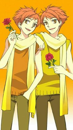 Hitachiin twins, brothers, Kaoru, Hikaru, roses; Ouran High School Host Club