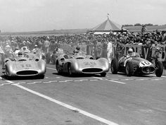 Fangio, Kling & Ascari, Reims Grand Prix, 1954.  The first two in the W196 Benz and Ascari on the Maserati 250F.