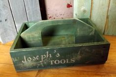 Personalized Wooden Toolbox rustic primitive pallet board box, laser engraved, painted.  This neat tool box can be personalized with the name of your choice.  $25.00 through SpiffMeUp on etsy