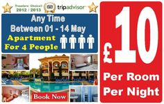 £ 10 Room for 4 person Special summer offer limited rooms!!