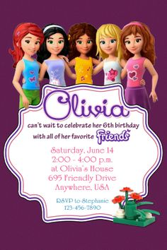 LEGO FRIENDS Birthday Party Invitation By Twotwelvedesigns 550 Lego Friends More