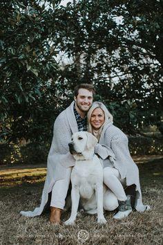 Outdoor Winter Engagement Photo Session || Blanket || Dog || White || Garden || Memphis Engagement Photographer || Christen Jones Photography