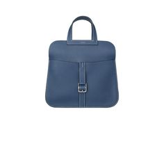 """Halzan Hermes bag in sapphire blue taurillon clemence leather Stirrup-shaped handles, Etriviere buckle in silver and palladium plated metal, adjustable and removable leather strap. Can be carried as a messenger bag, tote bag or clutch bag Measures 12"""" x 5"""" x 4"""""""