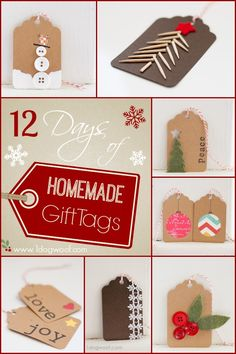 12 Days of Homemade Christmas Gift Tags @ www.1dogwoof.com - great ways to use up buttons. . .