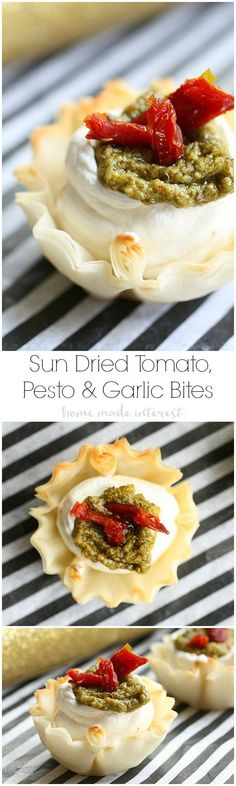 These bite-size appetizers are perfect for parties. Creamy cheese in a phyllo cup, topped with sun dried tomato, pesto.