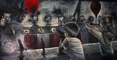 """""""Shoot the Clown, Burst the Water Balloon"""" Painting 3 of 8 in Michael Bell's """"Carnevale Italiano"""" series 48"""" X 96"""" oils/canvas http://mbellart.com/prequel.htm"""