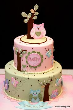 Owls, Butterflies and Birds Baby Shower Cake - Love how this cake turned out!