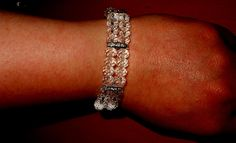 Double layer bracelet with rhinestone connector and clear glass beads