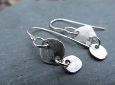Sterling Crushed Pebble Dangle Earrings recycled silver by LUQ2