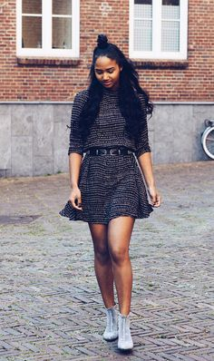 Swingy dress + metallic boots