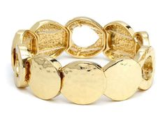 Round Flat Gold Bracelet.  Item #PB0280GD $14  Available at Impulse Gifts 812.481.2880 We ship daily.   https://www.facebook.com/ImpulseJasper