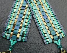 Herringbone Tila Bracelet.  Miyuki Tila Beads. Handcrafted