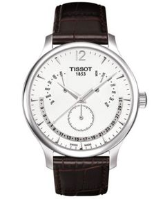 Tissot Watch, Men's Swiss Tradition Perpetual Calendar Brown Leather Strap T0636371603700