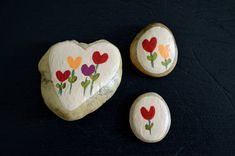Painted Rock Trio Desktop Decor Hand Painted Rocks Holiday