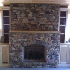 Fireplaces on pinterest stone fireplaces fireplaces and for Fieldstone fireplace