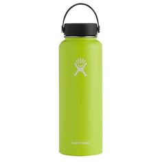 Hydro Flask 40 oz Wide Mouth Insulated Bottle w/ Flex Cap - Citron Hydro Flask 40 Oz, Cute Water Bottles, Vsco Pictures, Gift Suggestions, Stainless Steel Bottle, Outdoor Outfit, Brand You, Beach Bum, Essentials