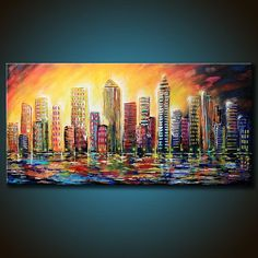 48x24 ORIGINAL City Abstract Painting Colorful by FariasFineArt #artpainting