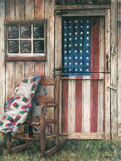 Americana painted door ..love the old quilt draped over child's rocker..