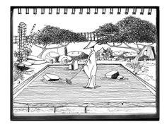 jardín japones, tinta / japanese garden, ink. Gmo.L. 02