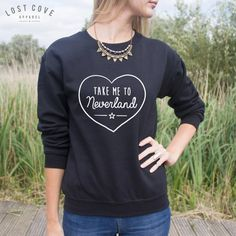 Take Me To Neverland Jumper Sweater Heart Cute by LostCoveApparel