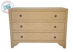 New at #lvmkt #B3 = Gia chest from Noir is wrapped in burlap & peppered with nailheads. #furniture