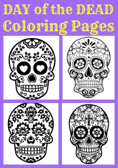 Beautiful Day of the Dead Sugar Skull Coloring pages - for kids and adults! Great cultural lesson - add jewels & felt to craft! Halloween refocus!