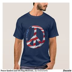 Peace Symbol and US Flag Motivation Logo Tees and Tops