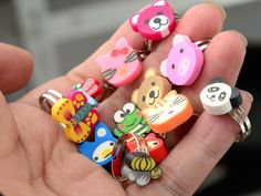 Wholesale 10pcs Mix Lots Bulk Polymer Clay Animal Face Rings For Kids Best Christmas Gift Children Rings Jewelry