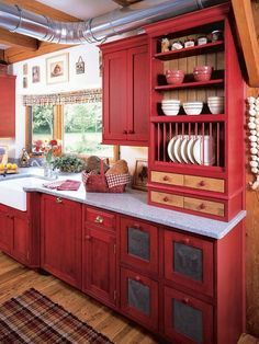 Country Kitchen Cabinets, Red Kitchen Decor, Country Kitchen Farmhouse, Rustic Kitchen Design, Contemporary Kitchen Design, Painting Kitchen Cabinets, Kitchen Cabinet Design, Kitchen Colors, Kitchen Ideas