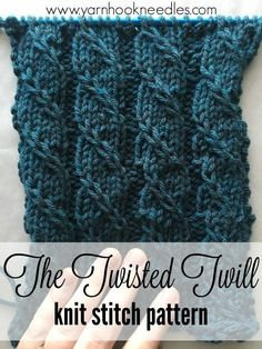 Twisted Trill Knitting Stitch with FREE Pattern Link - Yarn - jacqueline charbonneau -Want to learn a challenging stitch pattern that will make your next knitting project your most stunning yet? Check out the twisted trill stitchThe Twisted Twill Kni Knitting Stiches, Circular Knitting Needles, Loom Knitting, Knitting Patterns Free, Free Knitting, Crochet Stitches, Crochet Patterns, Free Pattern, Crochet Mandala