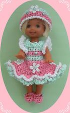 """Crochet Doll Clothes Pink & Mint Flowers for 4 ½"""" Kelly & same sized dolls"""