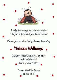 Ladybug Baby Shower Invitation (Birthday)