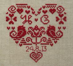 Personalised Heart Wedding Sampler  Instant Download PDF