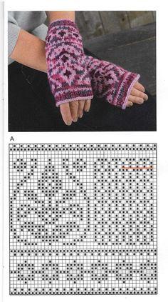 Knitted Mittens Pattern, Fair Isle Knitting Patterns, Knit Mittens, Knitted Gloves, Knitting Socks, Hand Knitting, Crochet Chart, Knit Crochet, Fingerless Mittens
