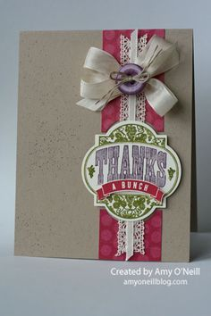 """Supplies Used:  Stamps:  Friendship Preserves  Ink:  Old Olive, Perfect Plum, Raspberry Ripple  Paper:  Crumb Cake, Very Vanilla, Orchard Harvest dsp  Embellishments:  Window Frames Collection framelits, Very Vanilla 1/2"""" Seam Binding ribbon, Victoria 5/8"""" Crochet Trim, Very Vanilla, 1/8"""" Taffeta Ribbon, Linen Thread, Subtles Designer Buttons, Color Spritzer ToolThanks a Bunch"""