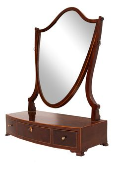 Early 19th Century Toilet Mirror with Bow-Front Base c.1820