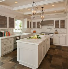 transitional kitchen Like the wire cabinets