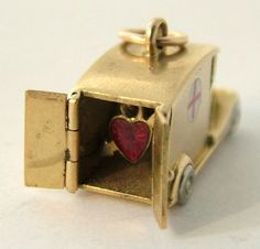 18k Gold & Enamel Ambulance Charm Opens to Heart