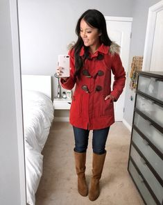 {Instagram Outfits Roundup} Red-Orange Coat + Skinnies + Riding Boots