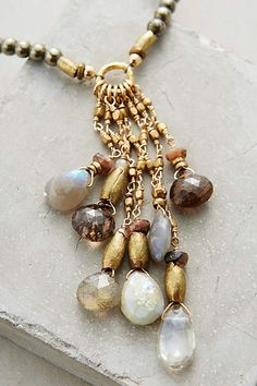 "Joachim Necklace by Avindy $148 of 14k Gold Fill, Moonstone, Labradorite, Quartz & Pyrite - 15.5"" w/1/5"" extender chain (17"" total) Pendant = 2.5"" - Handmade in USA by Mother/daughter team ""Avindy"""